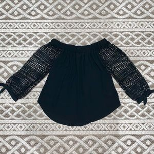 Express - 3/4 black off the shoulder top - size XS